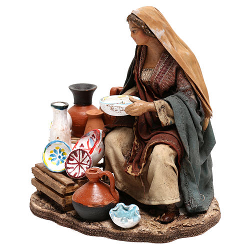 Nativity scene figurine, woman selling pottery by Angela Tripi 13 cm 2