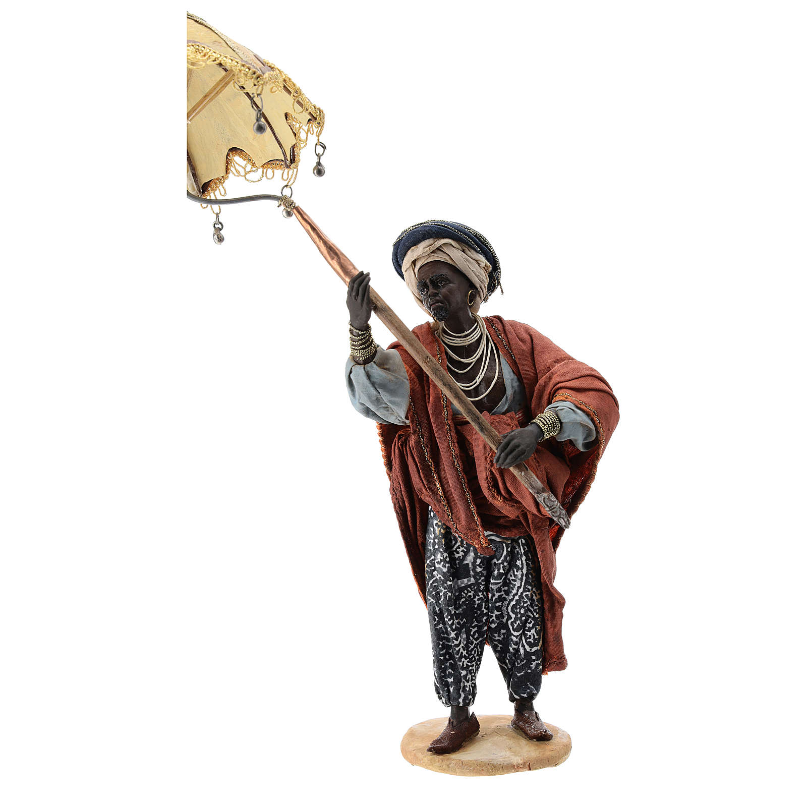 Nativity scene figurine, servant with umbrella 18 cm by Angela Tripi 4