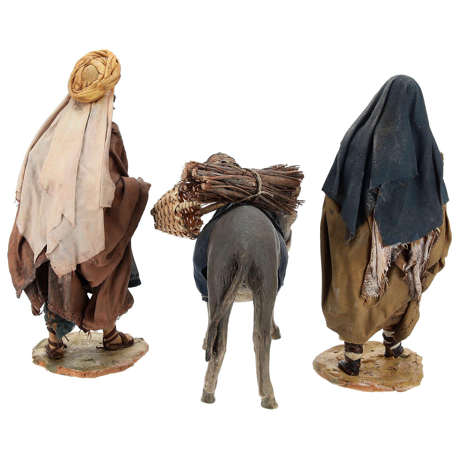 Familia pastores con niño y burro 13 cm A. Tripi 4