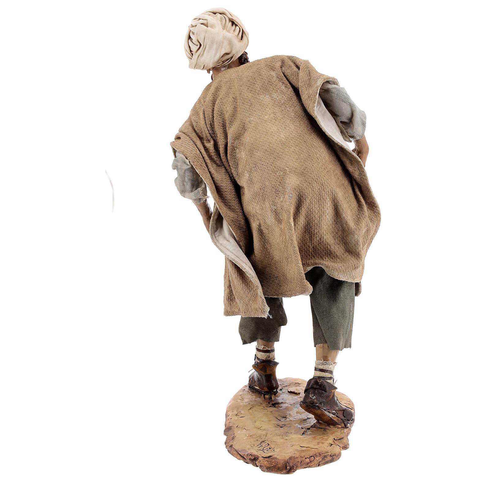Nativity scene figurine, Man with plow and ox by Angela Tripi 30 cm 4