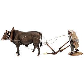 Nativity scene figurine, Man with plow and ox by Angela Tripi 30 cm s1