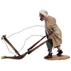 Nativity scene figurine, Man with plow and ox by Angela Tripi 30 cm s5