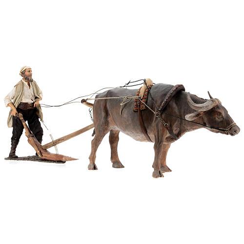 Nativity scene figurine, Man with plow and ox by Angela Tripi 30 cm 10
