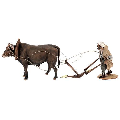 Nativity scene figurine, Man with plow and ox by Angela Tripi 30 cm 1