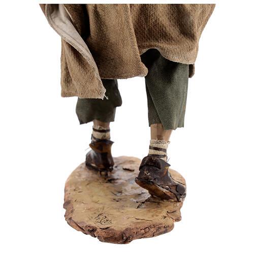 Nativity scene figurine, Man with plow and ox by Angela Tripi 30 cm 16