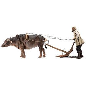 Homme et charrue avec boeuf 30 cm Angela Tripi s1