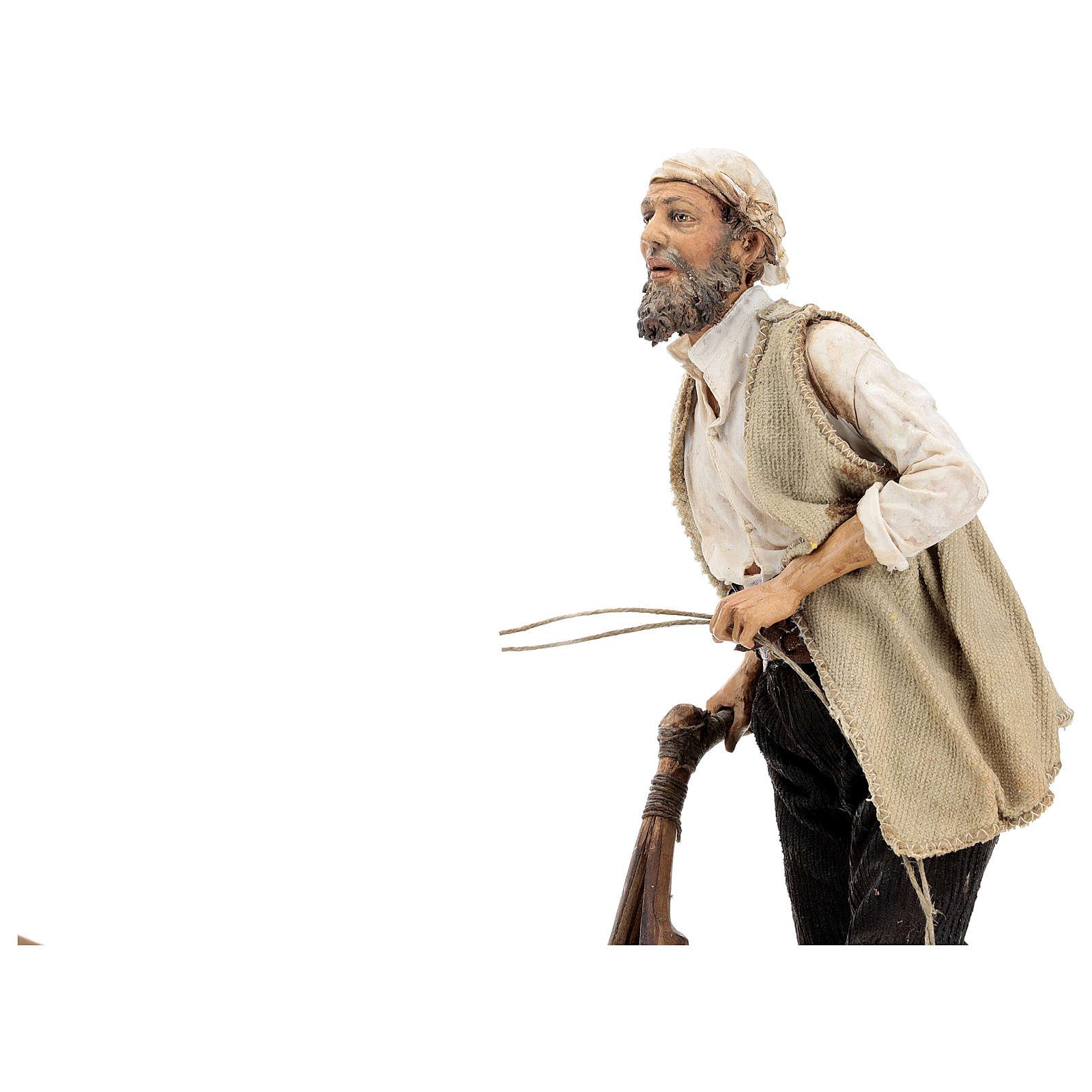 Uomo e aratro con bue 30 cm Angela Tripi 4