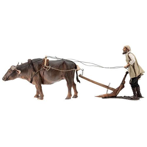Homem com boi e arado presépio Angela Tripi figuras altura média 30 cm 1