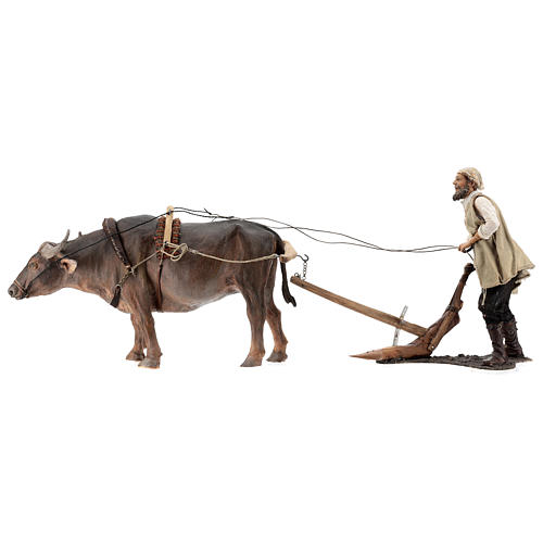 Man and plow with ox, 30 cm Angela Tripi 1