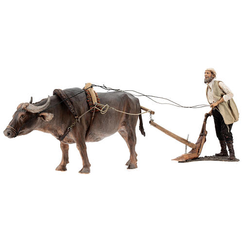 Man and plow with ox, 30 cm Angela Tripi 6