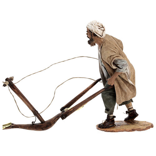 Man and plow with ox, 30 cm Angela Tripi 5