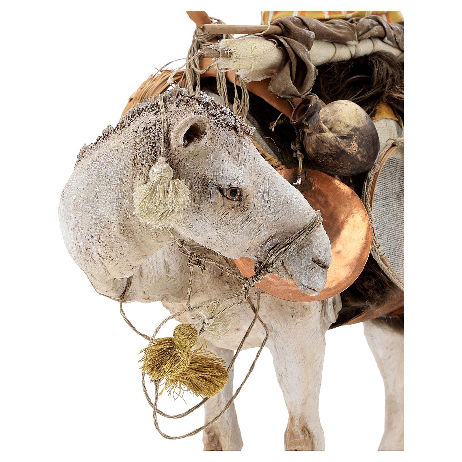 Nativity scene figurine, standing loaded camel by Angela Tripi 40 cm 4