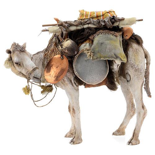 Nativity scene figurine, standing loaded camel by Angela Tripi 40 cm 1