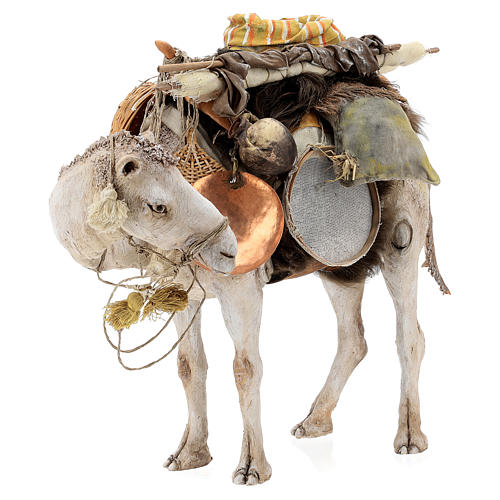 Nativity scene figurine, standing loaded camel by Angela Tripi 40 cm 5