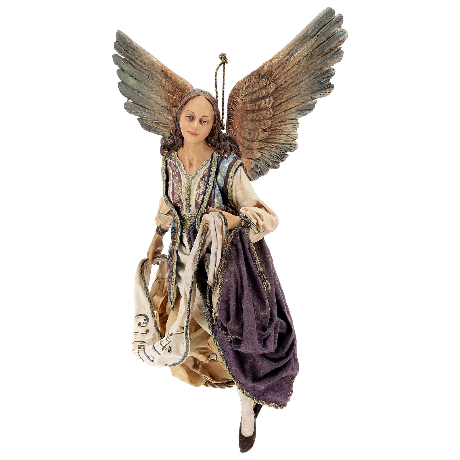 Nativity scene Angels with Gloria banners (two) by Angela Tripi 30 cm 4