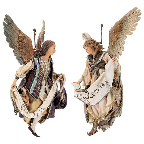 Nativity scene Angels with Gloria banners (two) by Angela Tripi 30 cm 1