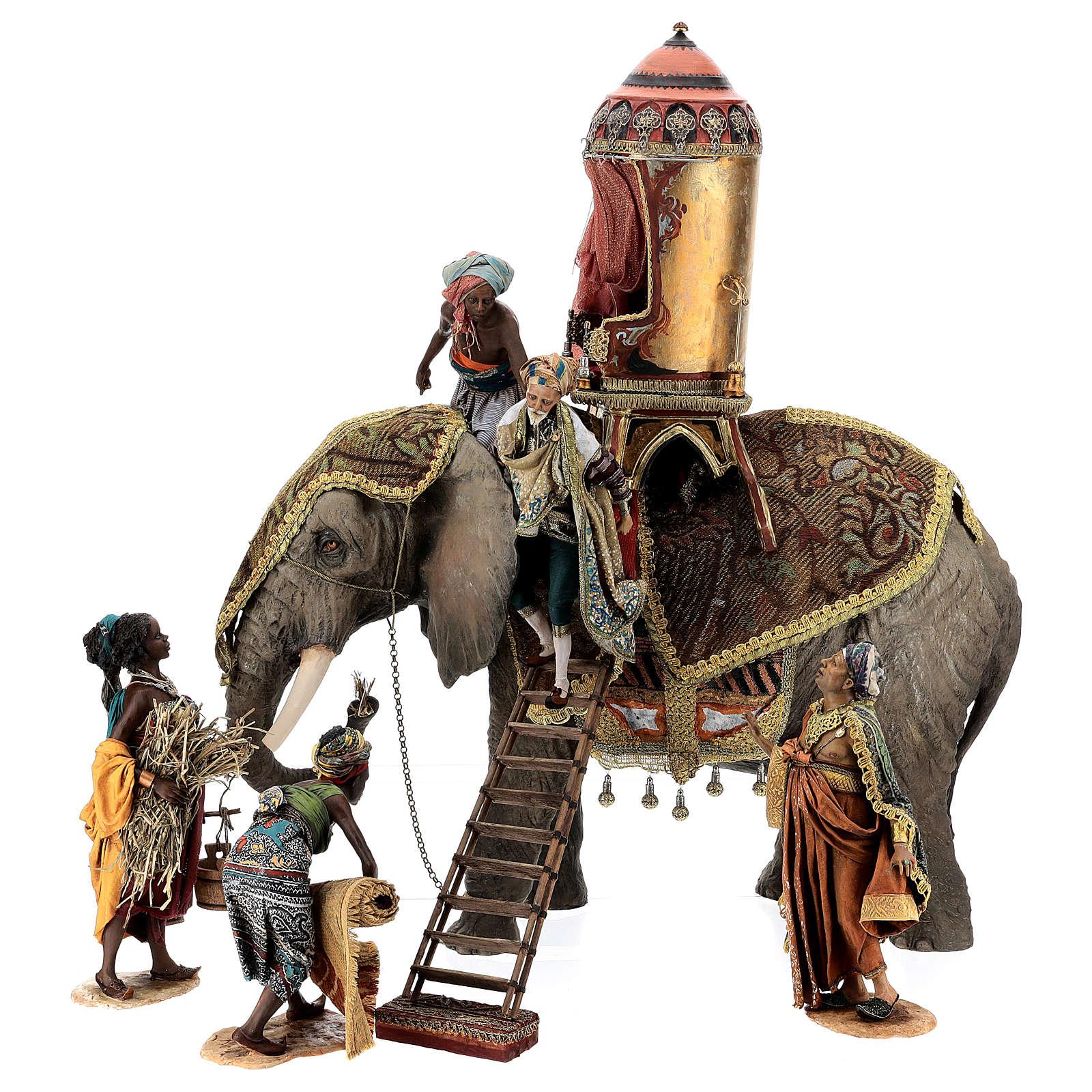 Cena chegada do Rei Mago Melchior Presépio Angela Tripi figuras altura média 30 cm 4