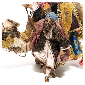 Nativity scene figurine, King getting off his camel by Angela Tripi 18 cm s6