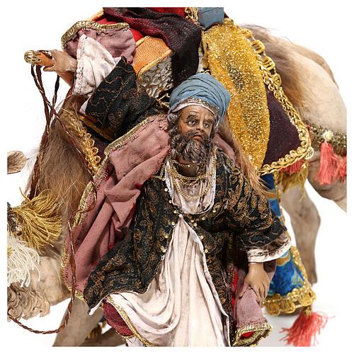 Nativity scene figurine, King getting off his camel by Angela Tripi 18 cm 2