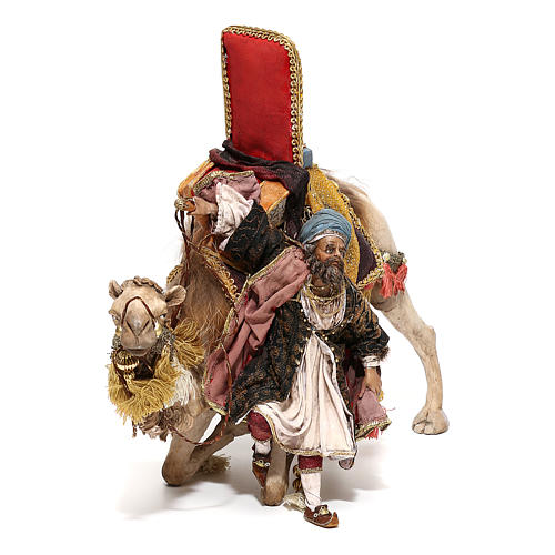Nativity scene figurine, King getting off his camel by Angela Tripi 18 cm 3