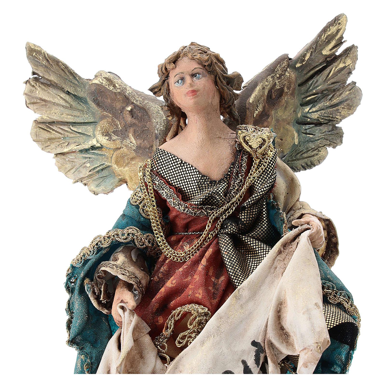 Nativity scene figurine, Angel with Gloria banner (to hang) by Angela Tripi 13 cm 4