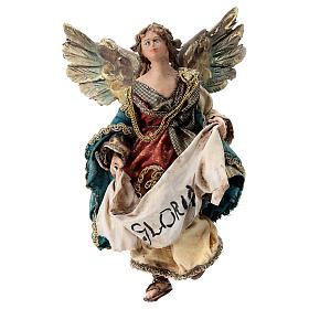 Nativity scene figurine, Angel with Gloria banner (to hang) by Angela Tripi 13 cm s1
