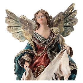 Nativity scene figurine, Angel with Gloria banner (to hang) by Angela Tripi 13 cm s2