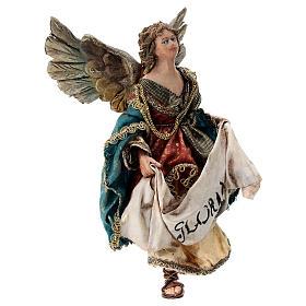 Nativity scene figurine, Angel with Gloria banner (to hang) by Angela Tripi 13 cm s4