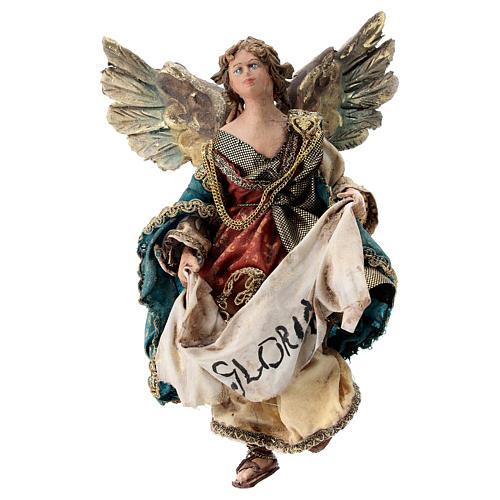 Nativity scene figurine, Angel with Gloria banner (to hang) by Angela Tripi 13 cm 1