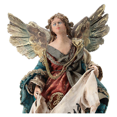 Nativity scene figurine, Angel with Gloria banner (to hang) by Angela Tripi 13 cm 2