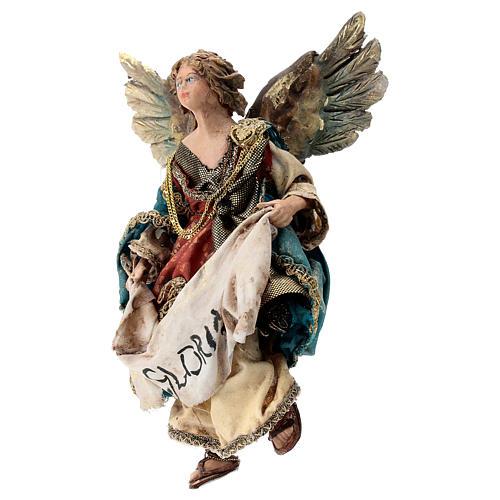 Nativity scene figurine, Angel with Gloria banner (to hang) by Angela Tripi 13 cm 3