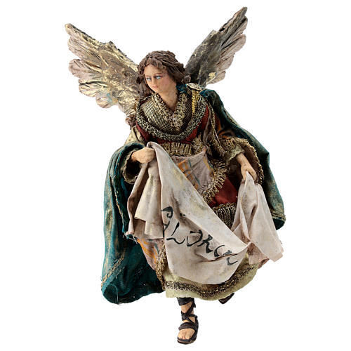 Nativity scene figurine, Angel with Gloria banner by Angela Tripi 13 cm 1