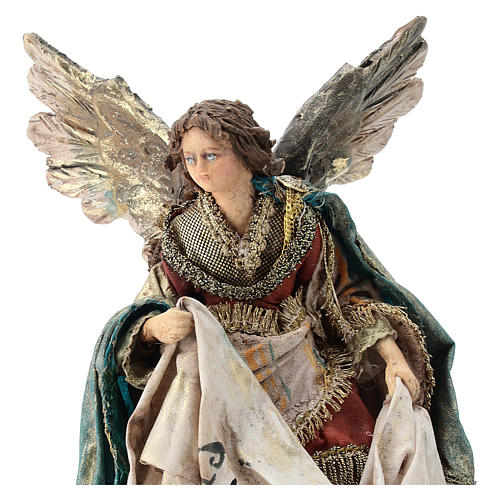 Nativity scene figurine, Angel with Gloria banner by Angela Tripi 13 cm 2