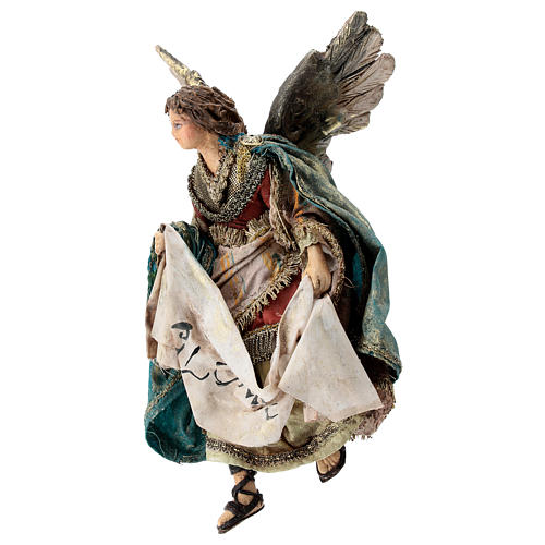 Nativity scene figurine, Angel with Gloria banner by Angela Tripi 13 cm 3