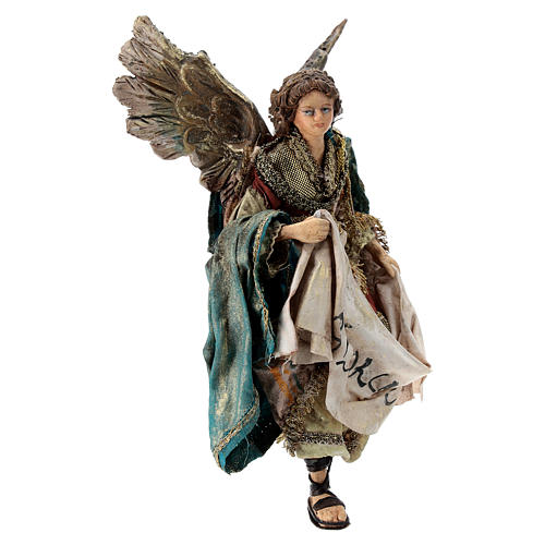 Nativity scene figurine, Angel with Gloria banner by Angela Tripi 13 cm 4