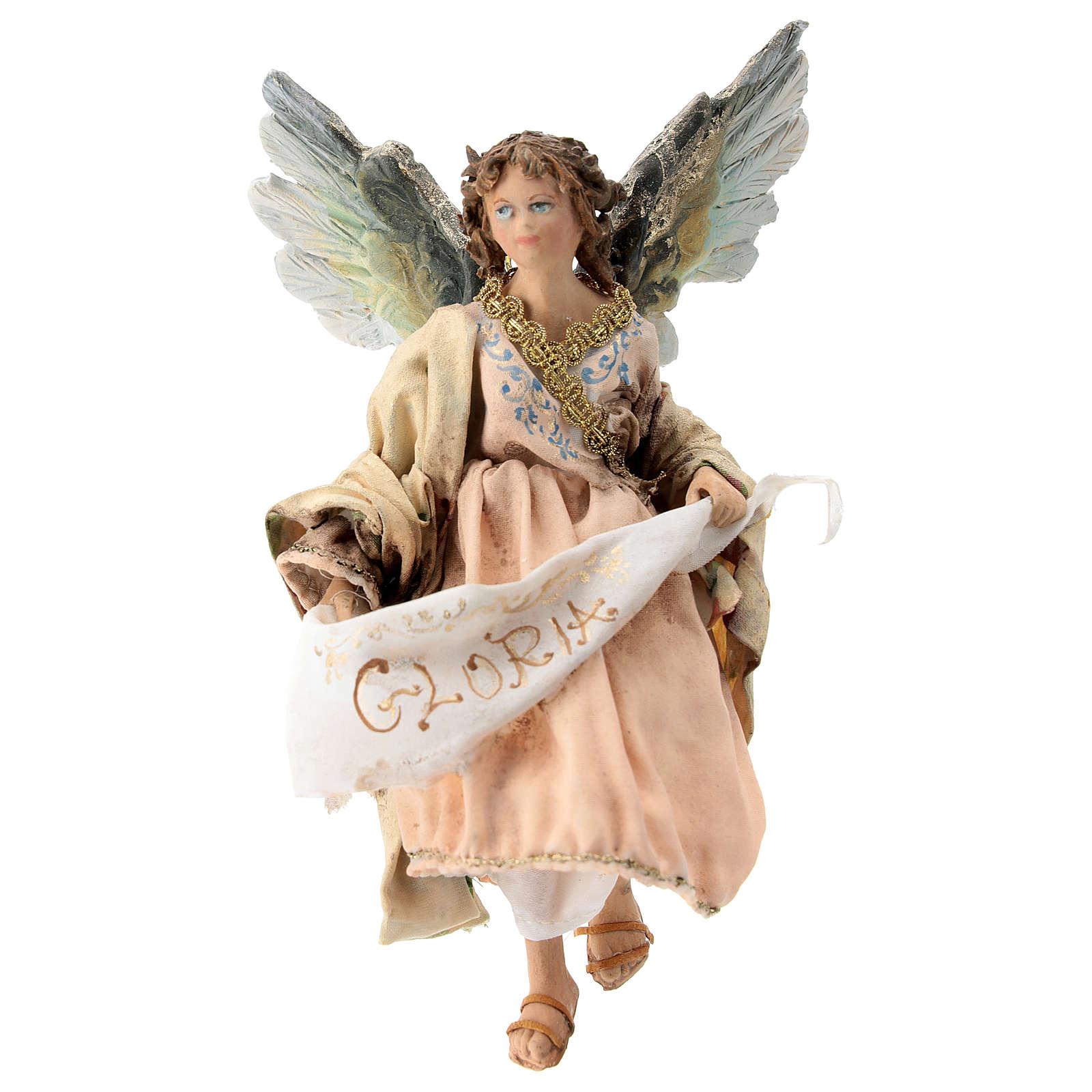 Nativity scene figurine, Angel with Gloria banner and pink robe by Angela Tripi 13 cm 4