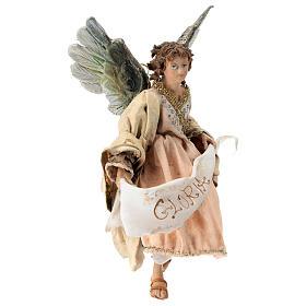 Nativity scene figurine, Angel with Gloria banner and pink robe by Angela Tripi 13 cm s4