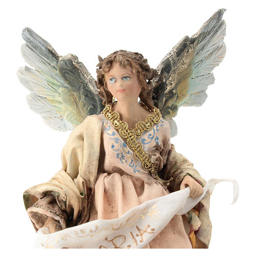 Nativity scene figurine, Angel with Gloria banner and pink robe by Angela Tripi 13 cm 2