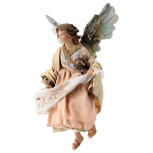 Nativity scene figurine, Angel with Gloria banner and pink robe by Angela Tripi 13 cm 3