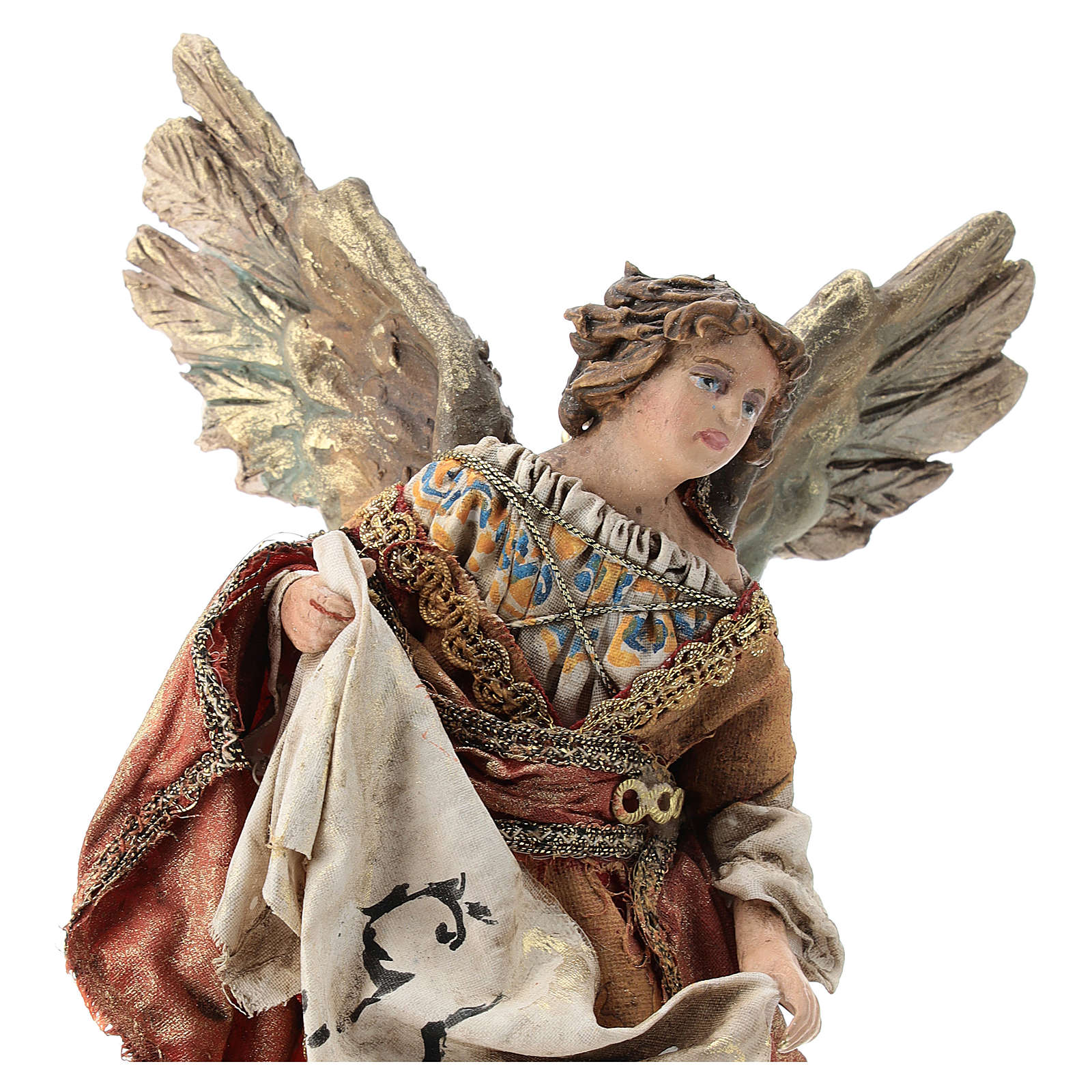 Nativity scene figurine, Angel with Gloria banner and red mantle by Angela Tripi 13 cm 4