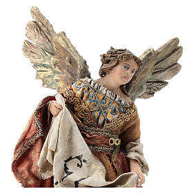 Nativity scene figurine, Angel with Gloria banner and red mantle by Angela Tripi 13 cm s2