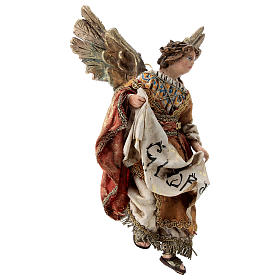 Nativity scene figurine, Angel with Gloria banner and red mantle by Angela Tripi 13 cm s4