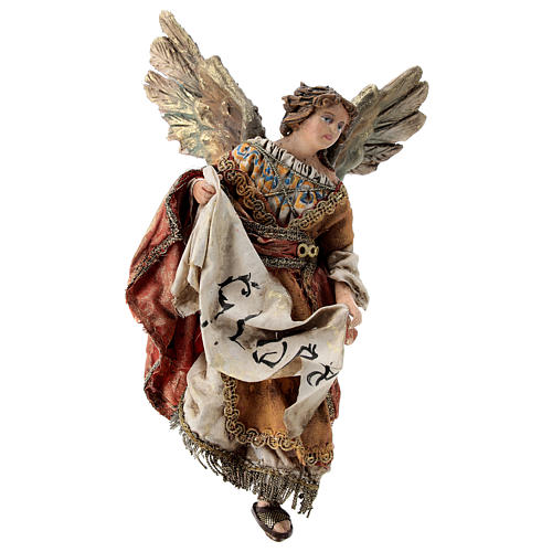 Nativity scene figurine, Angel with Gloria banner and red mantle by Angela Tripi 13 cm 1