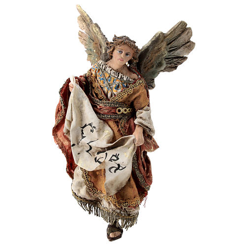 Nativity scene figurine, Angel with Gloria banner and red mantle by Angela Tripi 13 cm 3