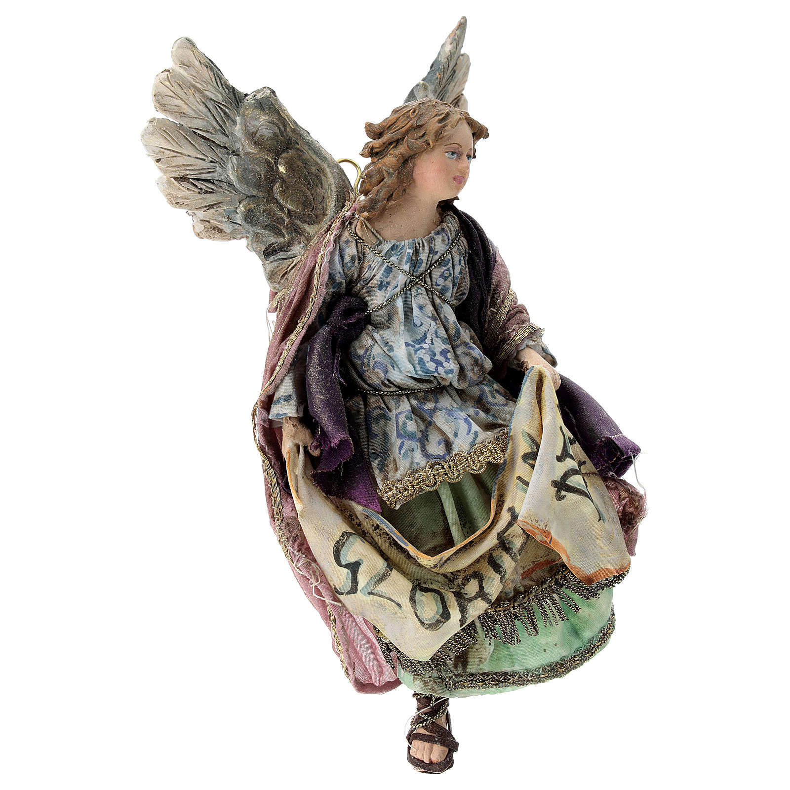 Nativity scene figurine, Angel with Gloria Deo banner by Angela Tripi 13 cm 4