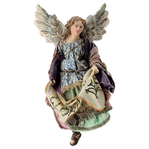 Nativity scene figurine, Angel with Gloria Deo banner by Angela Tripi 13 cm 1