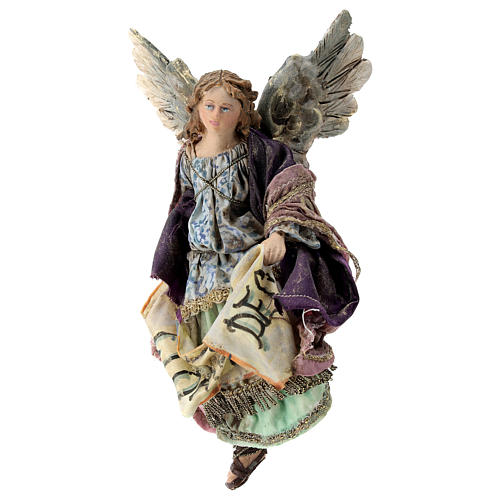 Nativity scene figurine, Angel with Gloria Deo banner by Angela Tripi 13 cm 3