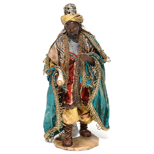 Nativity scene figurine, Dark-skinned King standing by Angela Tripi 13 cm 1