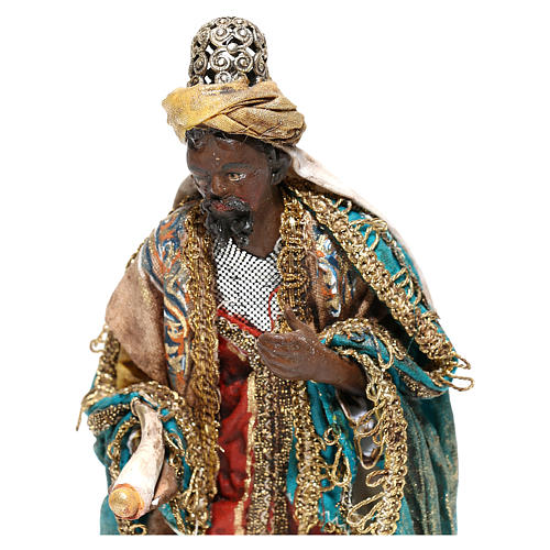 Nativity scene figurine, Dark-skinned King standing by Angela Tripi 13 cm 2