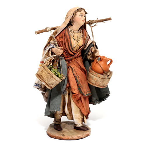 Nativity scene figurine, Woman with jars and vegetables by Angela Tripi 13 cm 4